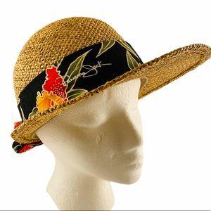 VTG Panama Jack Visor Straw Beach Hat w/Fabric
